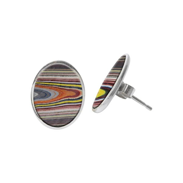 Silver Fordite Oval Stud Earrings