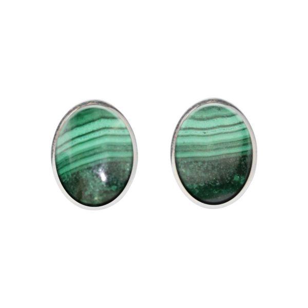 Silver Malachite Oval Stud Earrings