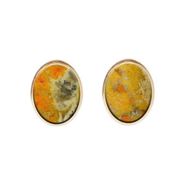 Gold Bumblebee Oval Stud Earrings