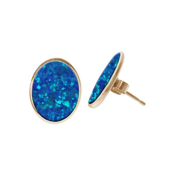 Gold Opalite Cobalt Blue Oval Stud Earrings
