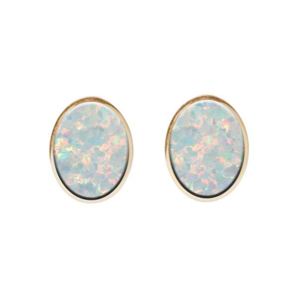 Gold Opalite Sun Ice Oval Stud Earrings