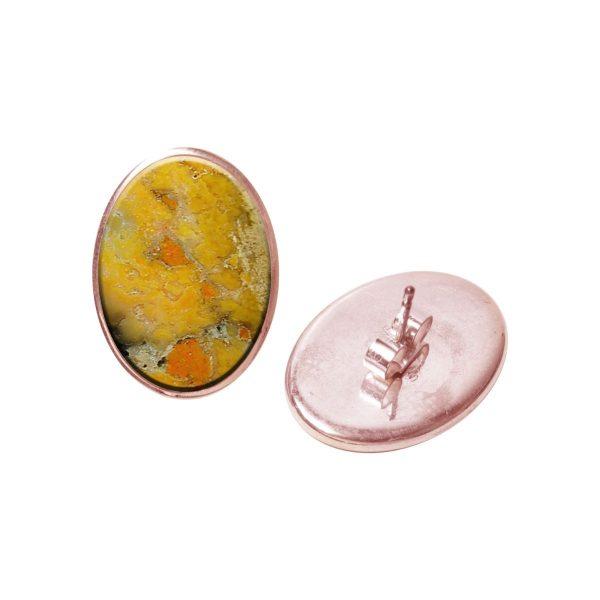 Rose Gold Bumblebee Jasper Oval Stud Earrings