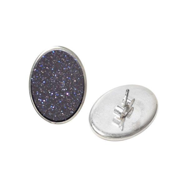 Silver Blue Goldstone Oval Stud Earrings
