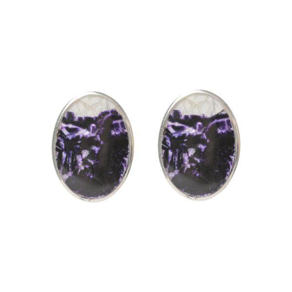 Silver Oval Blue John Stud Earrings