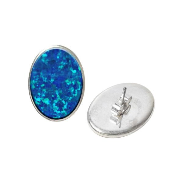 Silver Opalite Cobalt Blue Oval Stud Earrings