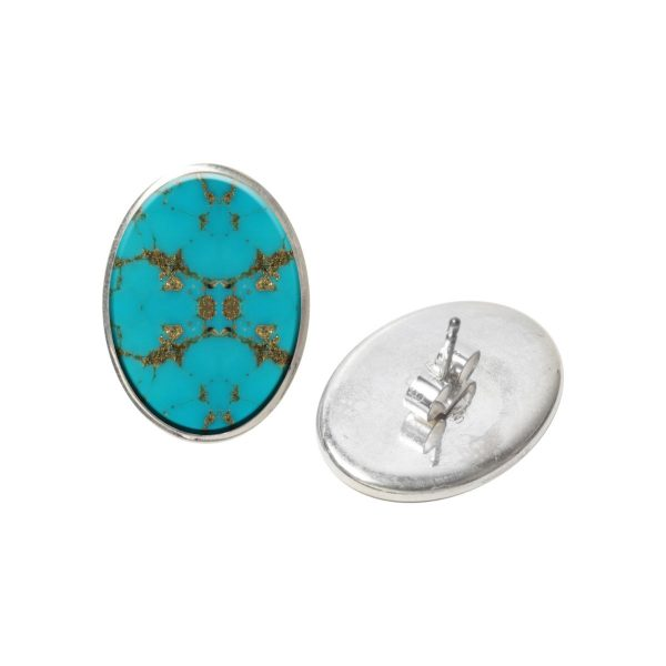 Silver Turquoise Oval Stud Earrings