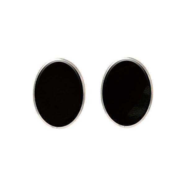 Silver Whitby Jet Oval Stud Earrings
