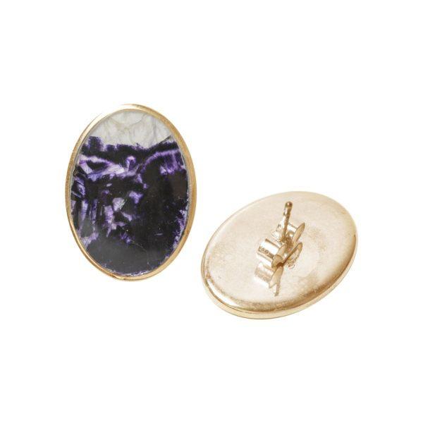 Gold Blue Goldstone Oval Stud Earrings