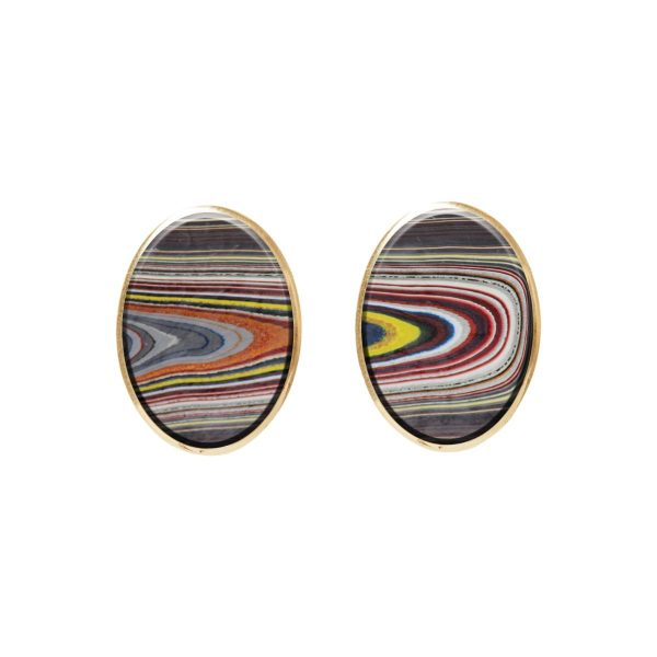 Gold Fordite Oval Stud Earrings