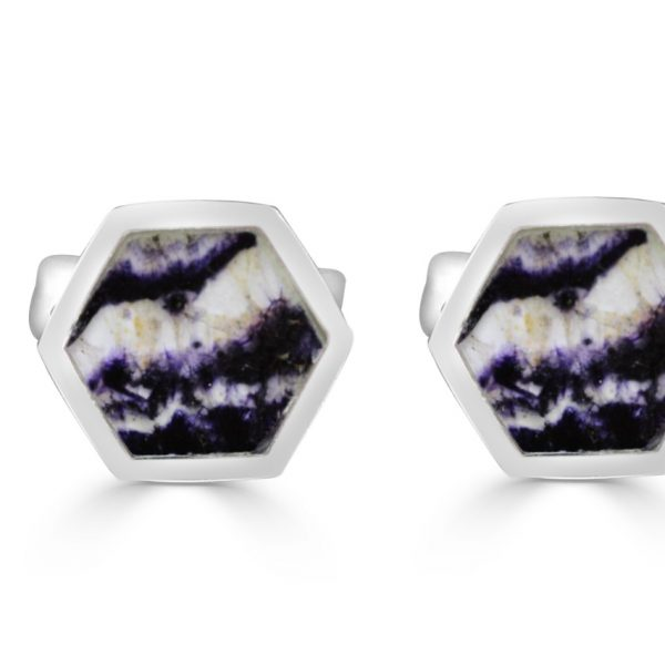 Hexagonal Cufflinks in silver with blue john
