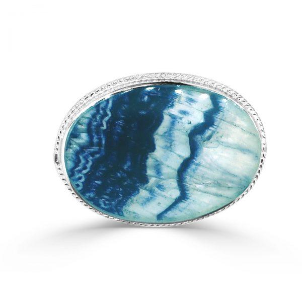 Oval Brooch in silver with blue john