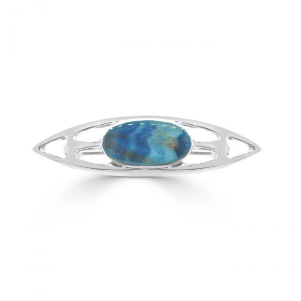 Oval Stone Brooch in silver with blue john