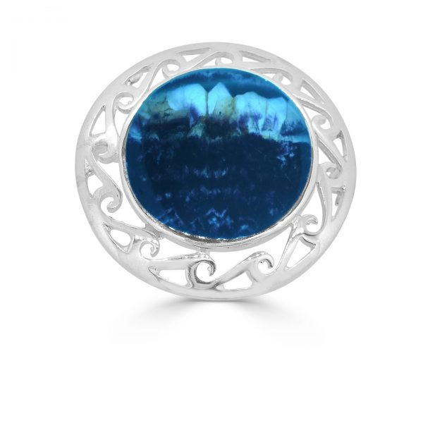 Round Celtic Brooch in silver with blue john