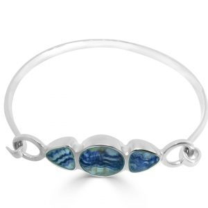 3 Stone Bangle in silver with blue john