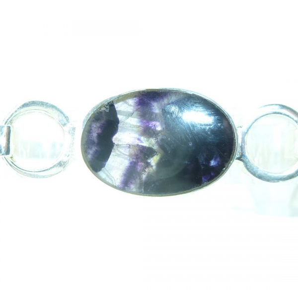Oval Bangle in silver with blue john