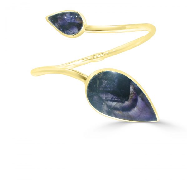 Modern Twist Bangle in 18 ct gold with blue john