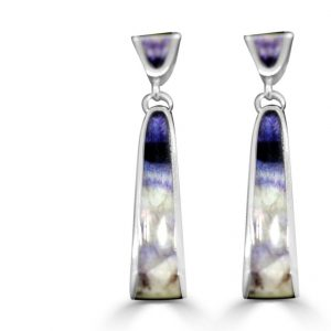 Double Drop Earrings in silver with blue john