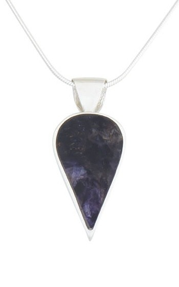 INP307 Inverted Teardrop Pendant in Silver with Blue John