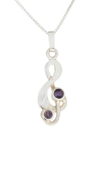INP310- Treble Clef Pendant in Silver with Blue John