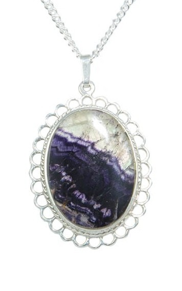 INP 334 Oval Pendant with Frill Edge in Silver with Blue John