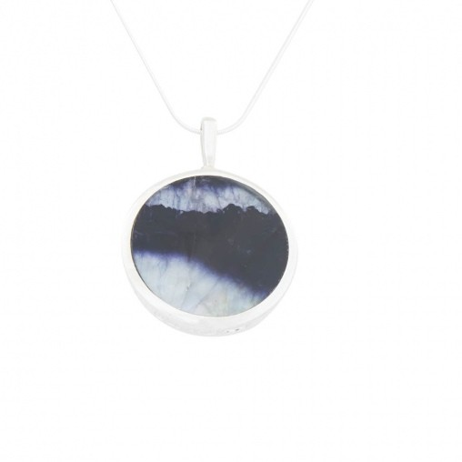 INP344 Double Sided Round Pendant in Silver with Blue John