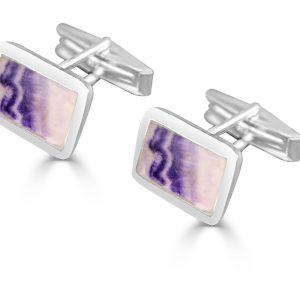 Oblong Cufflinks in silver with blue john