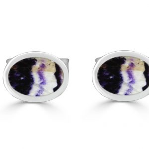 Oval Cufflinks in silver with blue john