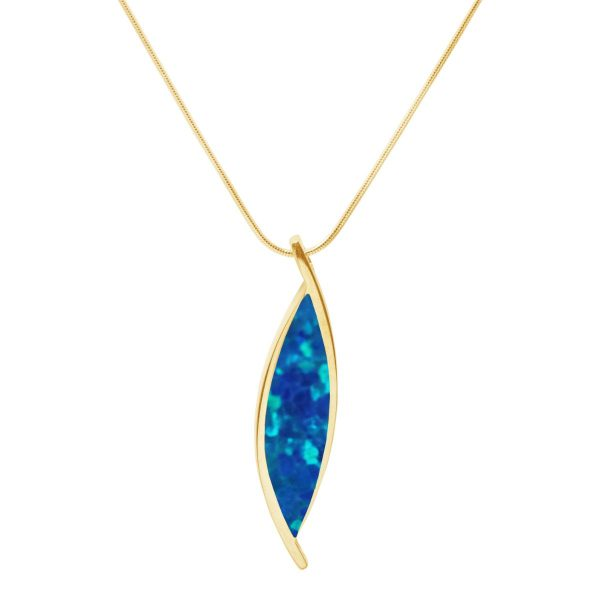Yellow Gold Cobalt Blue Opalite Pendant
