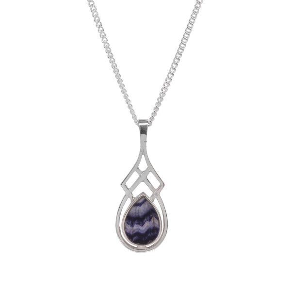 Silver Teardrop Shaped Blue John Stone Celtic Pendant