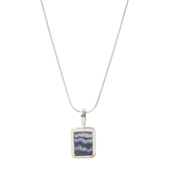 Silver Rectangular Blue John Pendant