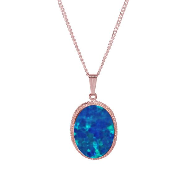 Rose Gold Cobalt Blue Oval Pendant