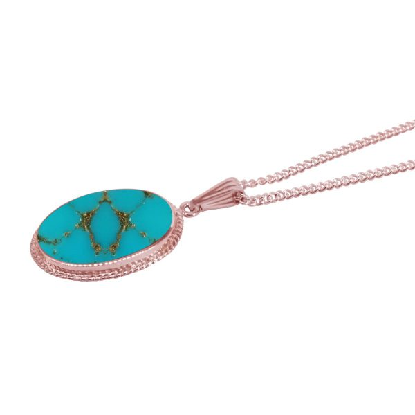 Rose Gold Turquoise Oval Pendant