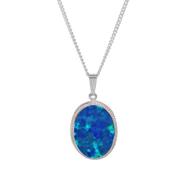 Silver Cobalt Blue Opalite Oval Pendant