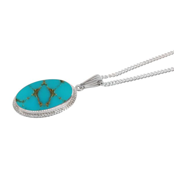 Silver Turquoise Oval Pendant