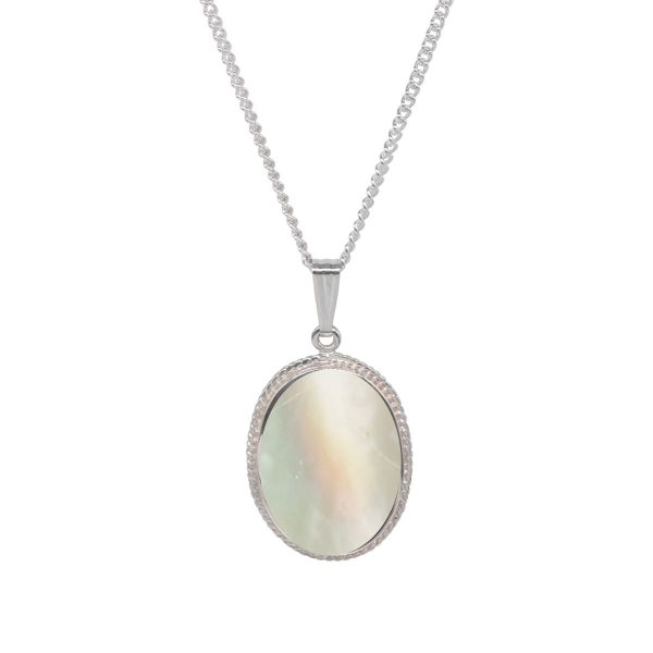 White Gold Mother of Pearl Oval Rope Edge Pendant