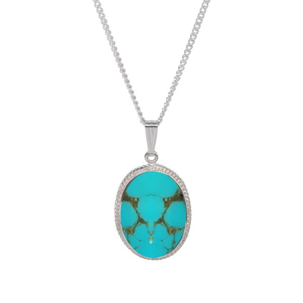 White Gold Turquoise Oval Rope Edge Pendant
