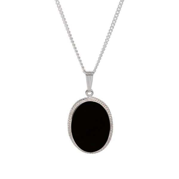 White Gold Whitby Jet Oval Rope Edge Pendant