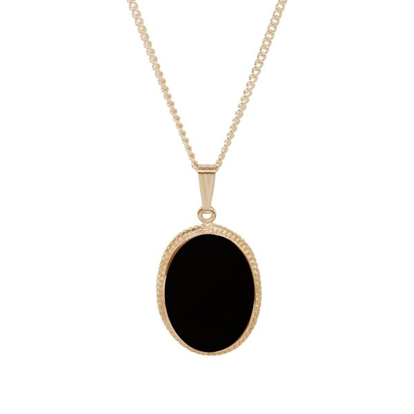 Yellow Gold Whitby Jet Oval Pendant