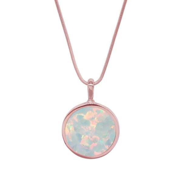 Rose Gold Opalite Sun Ice Round Double Sided Pendant