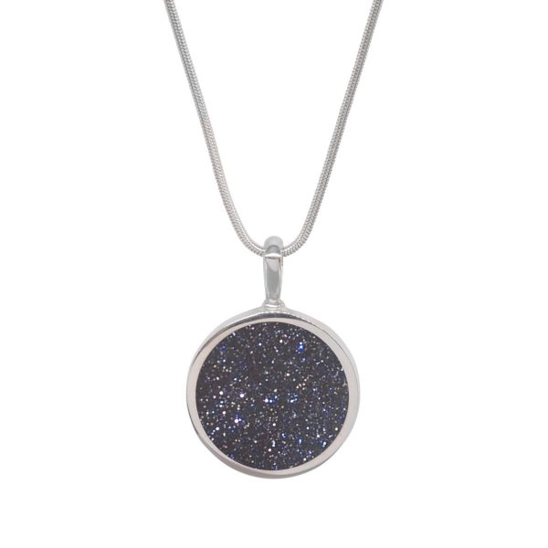Silver Blue Goldstone Round Double Sided Pendant