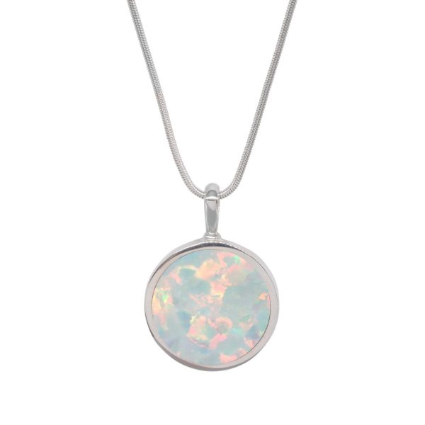 Silver Opalite Sun Ice Round Double Sided Pendant