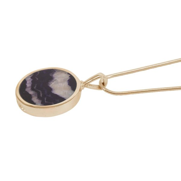 Yellow Gold Blue John Round Double Sided Pendant