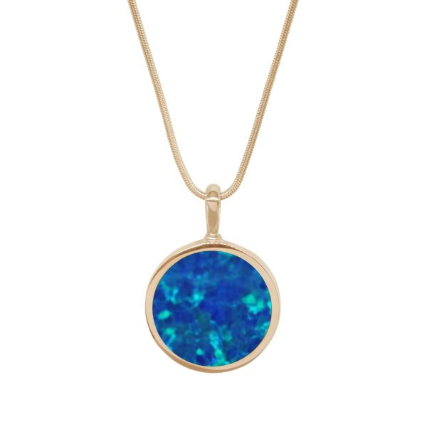 Yellow Gold Opalite Cobalt Blue Round Double Sided Pendant