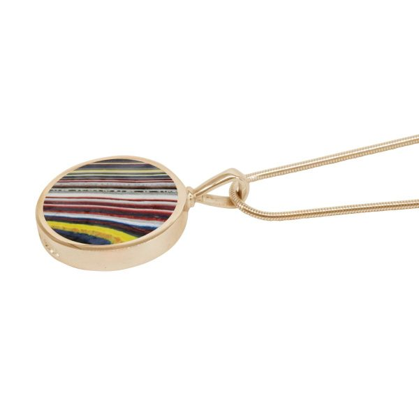 Yellow Gold Fordite Round Double Sided Pendant
