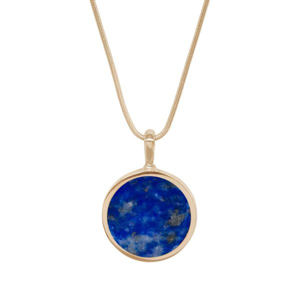 Yellow Gold Lapis Round Double Sided Pendant
