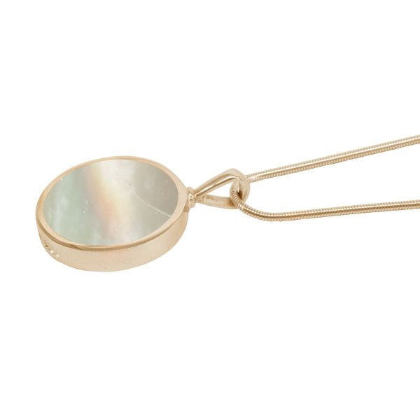 Yellow Gold Mother of Pearl Round Double Sided Pendant