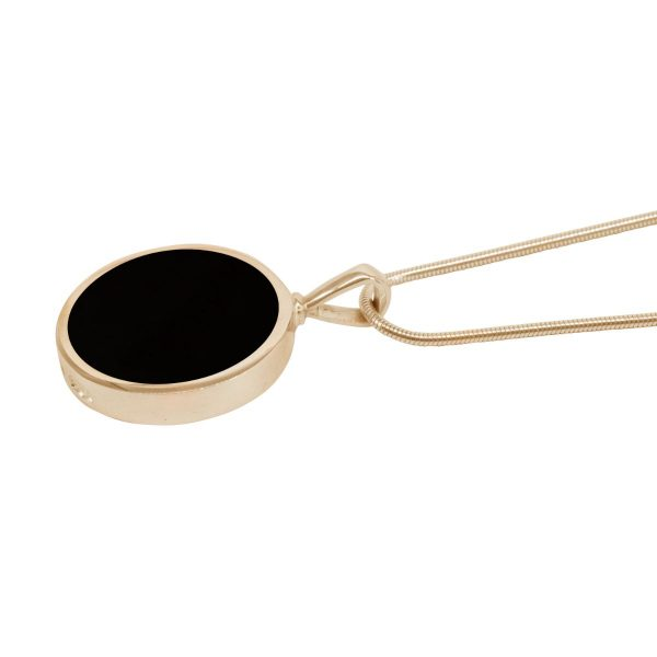 Yellow Gold Whitby Jet Round Double Sided Pendant