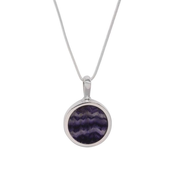 Silver Blue John Round Double Sided Pendant
