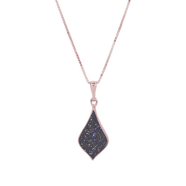 Rosr Gold Blue Goldstone Pendant