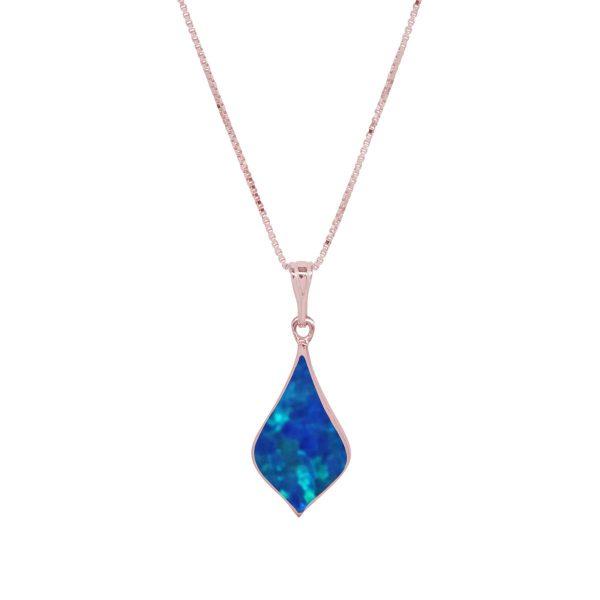 Rose Gold Cobalt Blue Opalite Pendant